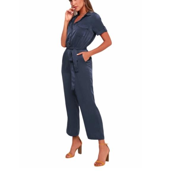 Jacintha Navy Blue Satin Short Sleeve Jumpsuit